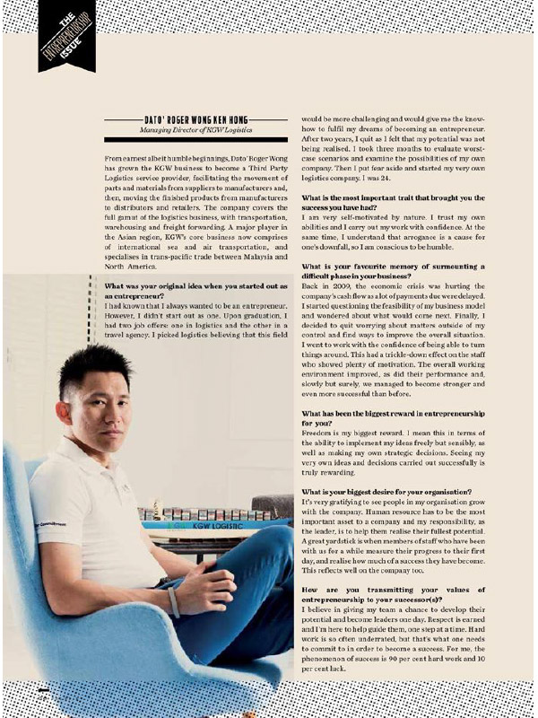 The Peak Magazine - Interview with our Founder, Dato' Roger Wong
