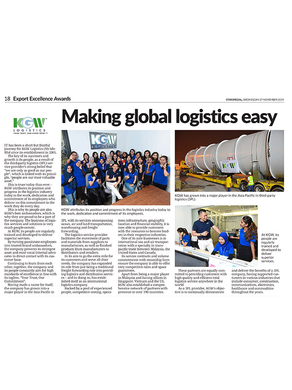 The Star Newspaper: KGW - Making Global Logistics Easy