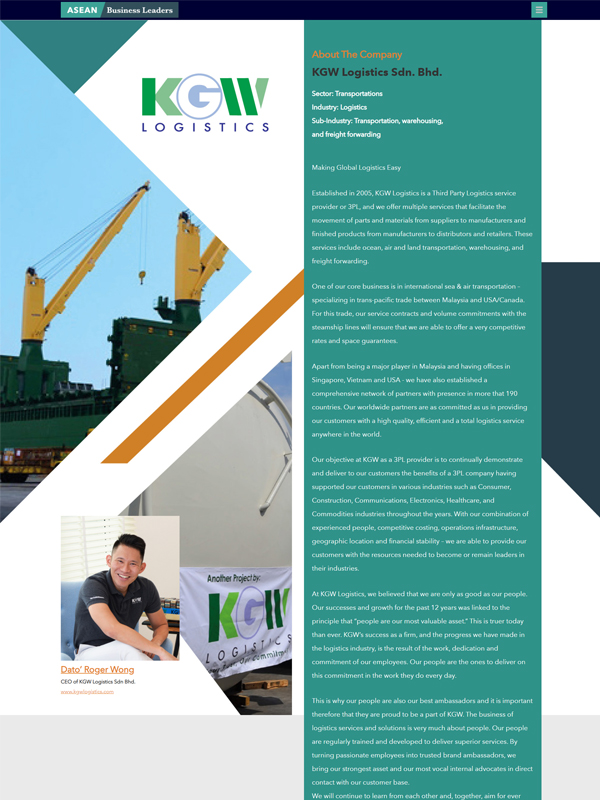 As featured in Asean Business Leaders – KGW Logistics