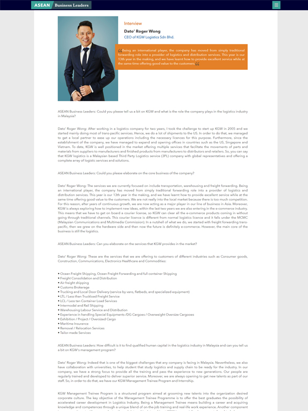 As featured in Asean Business Leaders – Interview with our Founder, Dato' Roger Wong