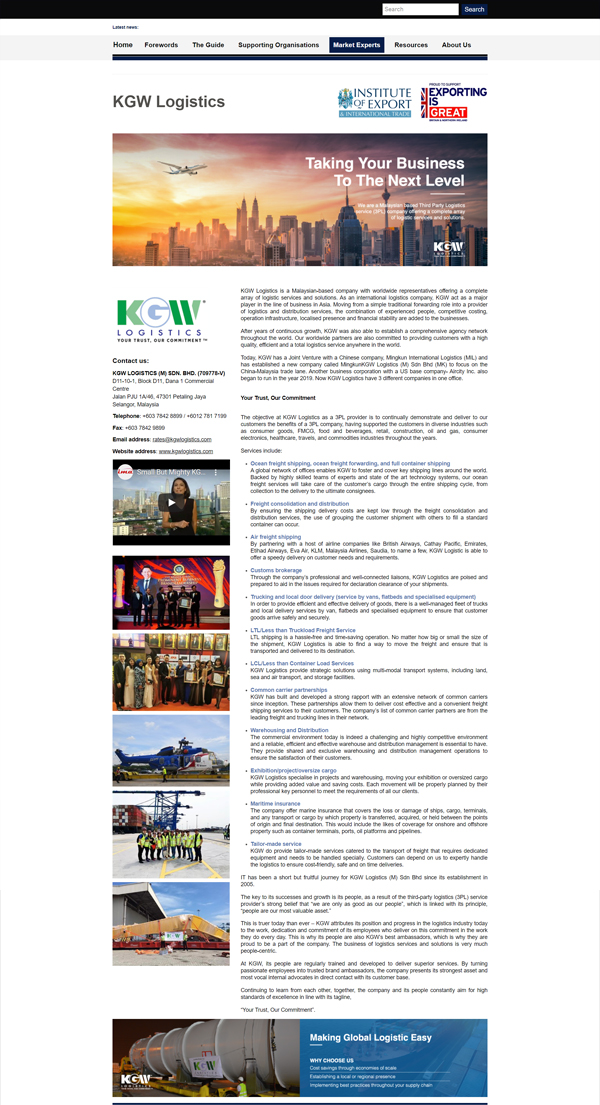 As featured in UK Institute of Export & International Trade - Doing Business with Malaysia Guide